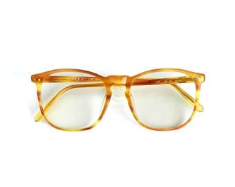 Round Oversize Eyeglasses Frames Prescription Lenses Glasses 80s Vogue Faux Tortoishell Amber Honey Size 54 20