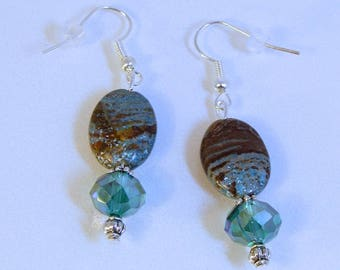 Striped Turquoise Silver Earrings