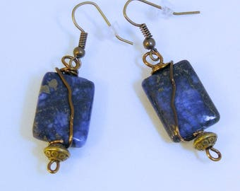 Rectangle Lapis Antique Brass Wrap Earrings