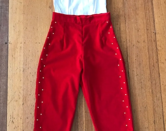 Red Velveteen Rhinestone Capri Pants. Size Small