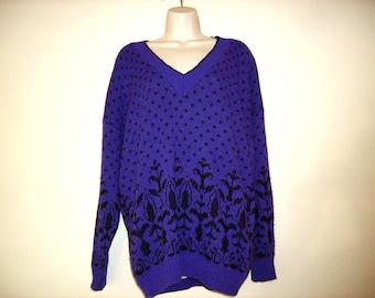 Vintage 1990s Purple & Black V Neck Sweater, Plus Size