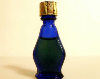 Vintage 1950s Evening in Paris by Bourjois Miniature Mini Perfume Parfum Splash Cobalt Blue Glass
