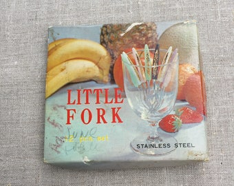 Vintage Little Fork Set - Original Box - Set of 12 with one extra - Great for Appetizers and Hors d'oeuvres