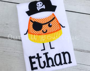 Candy Corn Pirate Halloween Shirt - Boy Halloween Shirt - Candy Corn Shirt - Pirate - Halloween Shirt - Pirate Applique