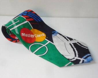 Vintage World Cup USA tie - Mastercard Sponsor  - Soccer Football - Green Silk  1994