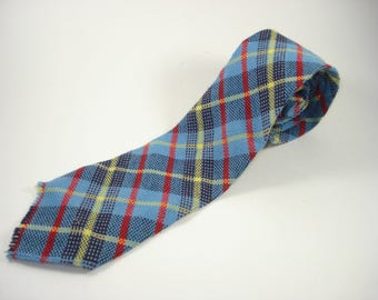 Vintage Blue Tartan Slim Tie - Yellow Red Plaid Necktie  - Retro Mens Accessories