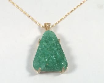 Vintage Green Jade Pebble Chip Pendant - Oversized Necklace on a Gold Chain - 1970s