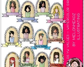 Young Women Values clip art - Watercolor Girls