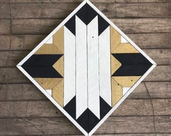 "Reclaimed Lath Wood Southwest Wall Art 13""x 13"" Black/White/Gold"