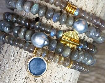 Stack Bracelets, Tahitian Pearl Bracelet, Labradorite bracelet, Stretch Bracelets, Beaded Bracelet, Set of Five, Boho Jewelry, Stackable