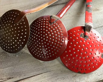 1 French Enamel Sieve Spoon, Pasta Ladle, Rustic French Farmhouse, 3 Available