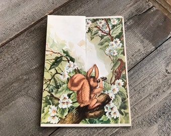 1958 French Easter Card, Joyeuses Paques, Red Squirrel, Mid Century Ephemera