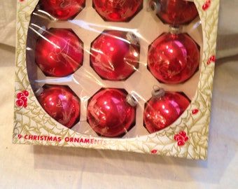 Box of 9 Red Shiny Brite Frosted Birds