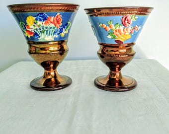 French Wine Goblets x 2, Antique, Ceramic Copper Lustre Glaze, 1830s - French Artists Workshop Glazed Ceramic Cups 1830s