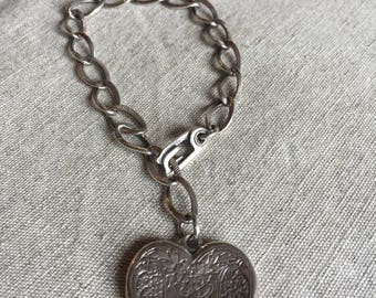 Sterling Silver Charm Bracelet  - with one large heart charm