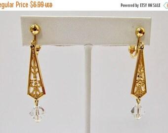 On Sale Vintage Ornate Crystal Dangle Earrings Item K # 887