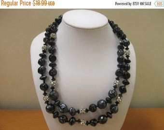 ON SALE Vintage Double Strand Black Sculptured Glass and Rhinestone Necklace Item K # 1964