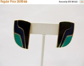ON SALE Retro Green, Blue and Black Enameled Earrings Item K # 1140