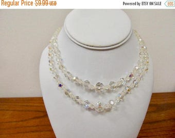 ON SALE Vintage Double Strand Aurora Borealis Crystal Necklace Item K # 1196