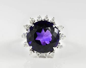 Royal purple antique 18.70 Ct natural amethyst and diamond cocktail ring