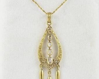 Etruscan revival Victorian rose cut diamond fringe necklace