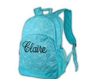 Turquoise backpack, lunch box set, backpack blue,  personalized free