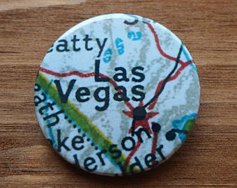 Pinback Button, Las Vegas, USA, Ø 1.5 Inch Badge, Atlas, Travel, vintage, fun, typography, whimsical