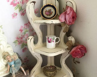 Vintage Corner shelf WHITE Shabby Chic White CORNER SHELF,wooden,  2 shelves, All White, Hand Painted, Farmhouse Decor, Romantic Home Decor