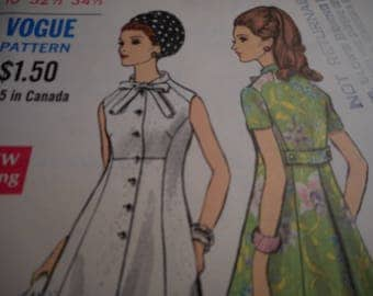 Vintage 1960's Vogue 7511 Coatdress Sewing Pattern Size 10 Bust 32.5