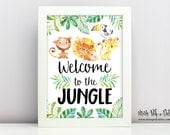 Jungle Safari Welcome Sign, Printable, Birthday Party, Young Wild and Three, Zoo, Lion, Monkey, Cheetah, Instant Download, Digital