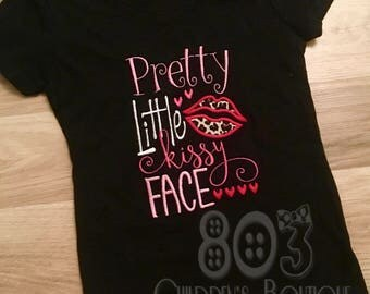 Pretty Little Kissy Face Valentine's Day Appliqué Shirt