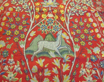 1960's Liberty of London Deer and Floral Fabric Piece, Liberty of London, Floral, Fauna, Deer, Bird, Red, Blue, Decorator Weight, Cotton
