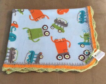 Funky, Colorful One Sided, Reversible Fleece Blanket with Crochet Trim