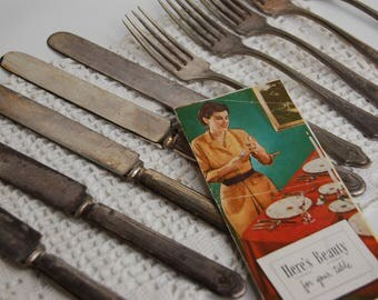 Rustic Silverplate knives and Forks. Tarnished forks and knives. Onieda Silverplate tarnished silverware. Bed and Breakfast