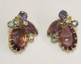 Vintage Juliana Delizza & Elster Clip Earrings Purple Amethyst AB Rhinestone