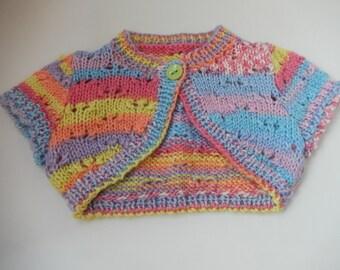 hand knitted baby girls bolero / baby sweater / rainbow bolero / hand knit cardigan / newborn