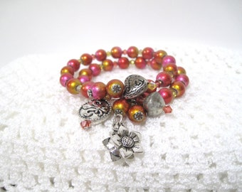 Hot Pink Orange Yellow Bracelet, Memory Wire bracelet, Size 6 to 7.50, bangle, multi color crystals, Free Shipping, Silver Charms