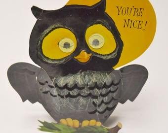 vintage Halloween owl: die cut, stand up, Hallmark, flocked, winking / open and shut eyes, magic motion