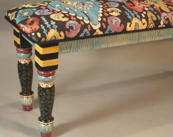 Long-Bench: Uphol-Fancy Bold Fabric, Custom Made-To-Order