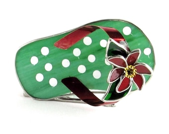 Stained Glass Flip Flop Candle Holder - Green and White Polka Dot Glass Sandal Sculpture - Vintage Home Decor