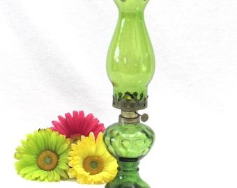 Green Vintage Oil Lamp