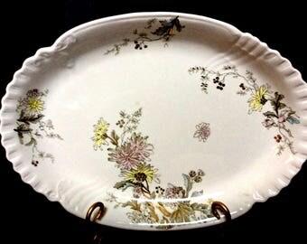 Antique John Edwards England Serving Platter Chrysanthemums c1900, Banquet Servingware, Raised Scalloped Rim