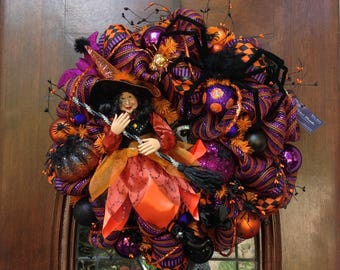 Pretty Witch Dressed in Orange and Black Wreath