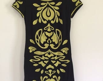 90's Black and Gold Embroidered Body Con Trophy Dress S M