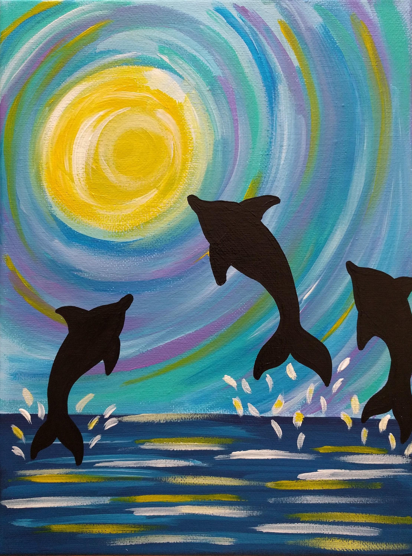 Delphin Malerei 9 x 12 Zoll-Malerei bunte Dolphin Kunst
