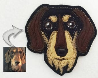 Dog Custom Portrait Patch. Textile Art. Dachshund Gift.