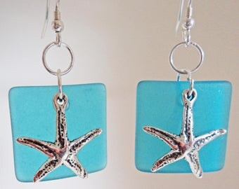 Square Cultured Sea Glass with star fish Earrings
