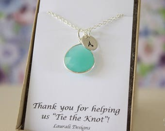 3 Monogram Bridesmaid Necklace Green, Bridesmaid Gift, Sea foam Gemstone, Sterling Silver, Initial Jewelry, Personalized, Jr Bridesmaid Gift