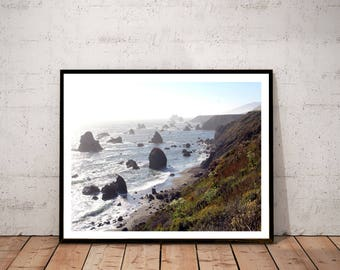"coastal landscape fine art photography print / nature seastack beach ocean seascape art print / green blue large wall art / ""Furlong Gulch"""