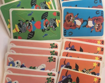 20 Vintage Reproduction Colorful Crazy Eights Animals Playing Cards Mixed Media Collage Cardmaking